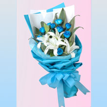 Blue Rose and Lilies Bouquet