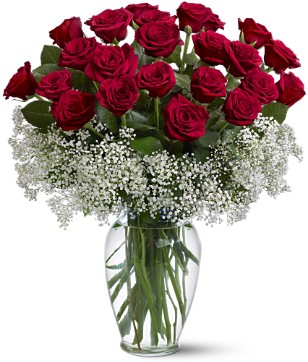 21 Red roses vase arrangement