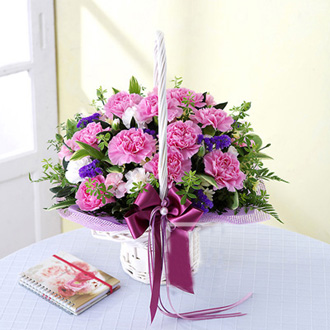 Classical pink carnations flower basket