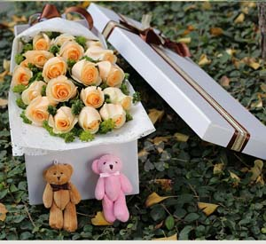 Box of champagne roses send flowers to beijing