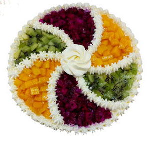 Colorful fruitB send cake to hefei China